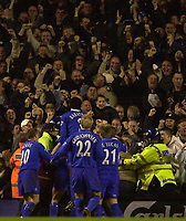 Photo. Richard Lane<br />08/03/2003 Arsenal v Chelsea, FA Cup Quarter Final, Highbury<br />Joy for Chelsea players and fans alike after Frank Lampard made it 2-2