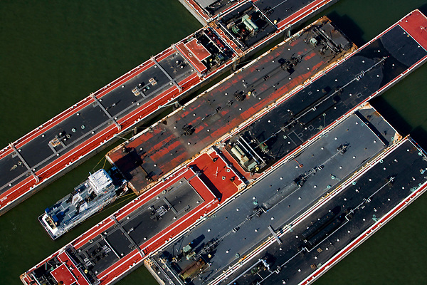 Aerial view of barges docked in Port of Houston.