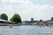 """Henley on Thames, United Kingdom, 3rd July 2018, Sunday,  """"Henley Royal Regatta"""", The Diamond Challenge Sculls, Finalists, (Left) Mahe DRYSDALE NZL M1X,  (Right) Kjetil BORCH NOR M1X,passing the Grandstands,    View, Henley Reach, River Thames, Thames Valley, England, UK."""