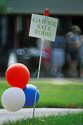 Americana garage sale today sign red white blue ballons