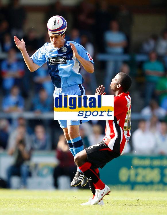 Photo: Richard Lane/Richard Lane Photography. Wycombe Wanderers v Brentford. Coca Cola Fotball League Two. Wycombe's Craig Woodman heads the ball.