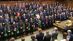 Members of the House of Parliament observe a minutes silence to pay respect to the victims of yesterday's terror attack in Westminster.
