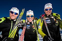 Domen Potocnik, Matija Rimahazi and Rok Trsan during Training camp of Slovenian Cross country Ski team on October 23, 2012 in Dachstein Getscher, Austria. (Photo By Vid Ponikvar / Sportida)