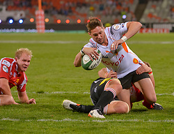 In for the try, Tienie Burger of the Free State Cheetahs during the Currie Cup Premier division match between the The Free State Cheetahs and the Lions held at Toyota Stadium (Free State Stadium), Bloemfontein, South Africa on the 15th September 2016<br /> <br /> Photo by:   Frikkie Kapp / Real Time Images