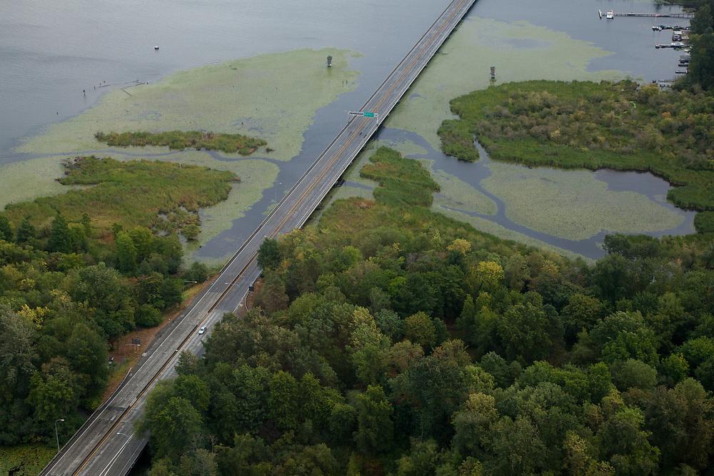 North America, United States, Washington,  Seattle, aerial view of highway through urban wetlands and bridge across Lake Washington