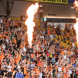 BRISBANE, AUSTRALIA - OCTOBER 7: Brisbane Roar fans celebrate during the round 1 Hyundai A-League match between the Brisbane Roar and Melbourne Victory at Suncorp Stadium on October 7, 2016 in Brisbane, Australia. (Photo by Patrick Kearney/Brisbane Roar)