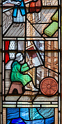 Stained glass window, Holy Cross church, Seend, Wiltshire, England 2002 by Andrew Taylor Life of Seend