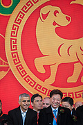 Sadiq Khan, Mayor of London, on stage with CT Tang, OBE, and Chinese Dignitaries - Chinese New Year Celebrations in London 2018 marking the arrival of the Year of the Dog. The Event started with a Grand Parade from the North East side of the Trafalgar Square and finishing in Chinatown at Shaftesbury Avenue. It was organised by London Chinatown Chinese Association and is supported by The Mayor of London and Westminster City Council.