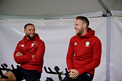 CARDIFF, WALES - Sunday, October 14, 2018: Wales' Ashley 'Jazz' Richards (L) and Chris Gunter during a training session at the Vale Resort ahead of the UEFA Nations League Group Stage League B Group 4 match between Republic of Ireland and Wales. (Pic by David Rawcliffe/Propaganda)