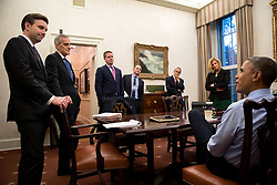 President Barack Obama meets with, from left, Press Secretary Josh Earnest; Chief of Staff Denis McDonough; Senior Advisor Dan Pfeiffer; Ben Rhodes, Deputy National Security Advisor for Strategic Communications; John Podesta, Counselor to the President and Jennifer Palmieri, Director of Communications, in the Oval Office Private Dining Room to prep for a CBS Face the Nation interview with Bob Schieffer, Nov. 7, 2014. (Official White House Photo by Pete Souza)<br /> <br /> This official White House photograph is being made available only for publication by news organizations and/or for personal use printing by the subject(s) of the photograph. The photograph may not be manipulated in any way and may not be used in commercial or political materials, advertisements, emails, products, promotions that in any way suggests approval or endorsement of the President, the First Family, or the White House.