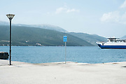 The port of Sami, Kefalonia, Greece. The village reaches a population of 1000 inhabitants most of whom are engaged in agriculture and fishing. Sami is the second largest port of Kefalonia after Argostoli and it serves daily trips to Patra, Ithaca and Italy. The modern village is built close to ancient Sami, one of the most important archeological discoveries of Kefalonia.
