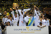 FOOTBALL - FRENCH LEAGUE CUP 2010/2011 - FINAL - OLYMPIQUE MARSEILLE v MONTPELLIER HSC - 23/04/2014 - PHOTO JEAN MARIE HERVIO / DPPI - CELEBRATION MARSEILLE VICTORY