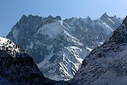 Peaks above the Mer de Glace glacier, near Chamonix, French Alps