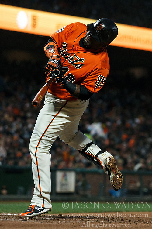 SAN FRANCISCO, CA - JULY 13: Pablo Sandoval #48 of the San Francisco Giants reacts after getting hit by a pitch from Edwin Jackson (not pictured) of the Oakland Athletics during the fifth inning at AT&T Park on July 13, 2018 in San Francisco, California. The San Francisco Giants defeated the Oakland Athletics 7-1. (Photo by Jason O. Watson/Getty Images) *** Local Caption *** Pablo Sandoval