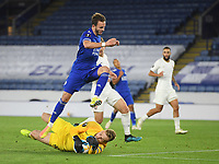 Football - 2020 / 2021 Europa League - Group F - Leicester City vs Zorya Luhansk - King Power Stadium<br /> <br /> Zorya Luhansk's Mykyta Shevchenko holds off the challenge from Leicester City's James Maddison<br /> <br /> COLORSPORT/ASHLEY WESTERN