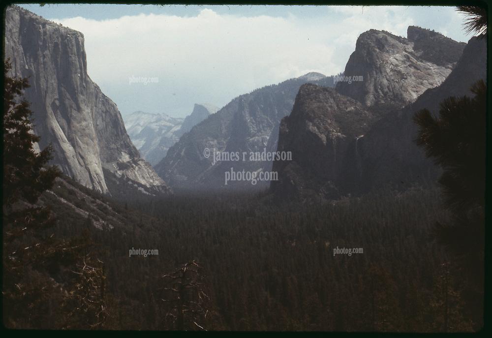 Inspiration Point at Wawona Overlook. Yosemite National Park 29 July 1973. High Speed Ektachrome Daylight Film.