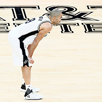 01 May 2017: San Antonio Spurs guard Tony Parker (9) rests during the Houston Rockets 126-99 victory over the San Antonio Spurs, in game 1 of the Western Conference Semi Finals, at the AT&T Center, San Antonio, Texas, USA.