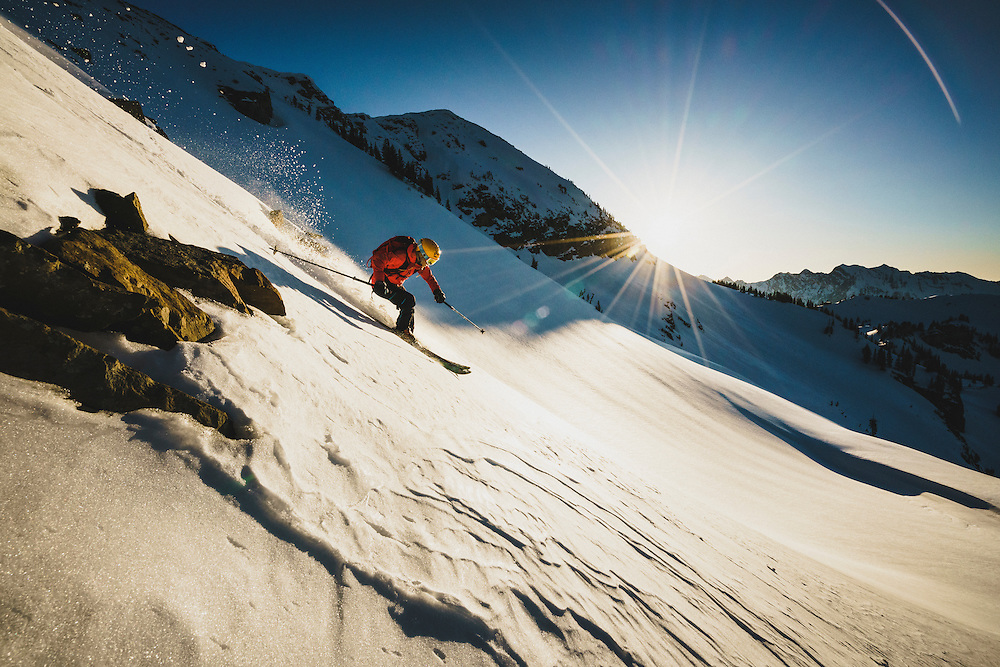 Athlete Caroline Gleich takes advantage of a sunset corn harvest in the Wasatch backcountry, Utah.