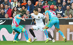 November 24, 2018 - Valencia, Valencia, Spain - Santi Mina of Valencia CF and Embarba and Galvez of Rayo Vallecano during the La Liga match between Valencia CF and Rayo Vallecano at Mestalla Stadium on November 24, 2018 in Valencia, Spain (Credit Image: © AFP7 via ZUMA Wire)