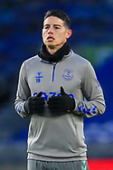 Everton striker James Rodriquez (19) portrait warm up during the Premier League match between Brighton and Hove Albion and Everton at the American Express Community Stadium, Brighton and Hove, England UK on 12 April 2021.