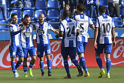 May 20, 2017 - Deportivo players celebrate Carles Gil goal. LA CORUNA SPAIN. MAY 20, 2017 - La Liga Santander match day 38 game. Deportivo La Coruna defeated Las Palmas with goals scored by Florin And one (4th and 28th minute) and Carles Gil (39th minute). Riazor Stadium, Spain. Photo by Monica Arcay Carro | PHOTO MEDIA EXPRESS (Credit Image: © Monica Arcay Carro/VW Pics via ZUMA Wire/ZUMAPRESS.com)
