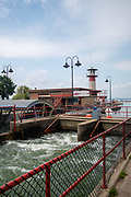 Flooding along the Yahara Lakes requires the Tenney Locks to be open to release flood water from Lake Mendota. Madison, Wisconsin, USA.