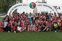 May 20, 2018 - Lisbon, Portugal - Aves' players celebrate with their trophy after winning the Portugal Cup Final football match CD Aves vs Sporting CP at the Jamor stadium in Oeiras, outskirts of Lisbon, on May 20, 2015. (Aves won 2-1) (Credit Image: © Pedro Fiuza/NurPhoto via ZUMA Press)
