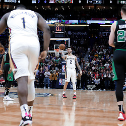 Jan 26, 2020; New Orleans, Louisiana, USA;  New Orleans Pelicans guard Lonzo Ball (2) holds the ball for a 24 second shot clock violation to start the game in tribute to former Los Angeles Lakers star Kobe Bryant whom died in a helicopter crash Sunday morning against the Boston Celtics during the first quarter at the Smoothie King Center. Mandatory Credit: Derick E. Hingle-USA TODAY Sports