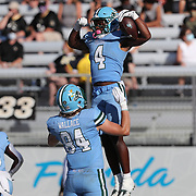 ORLANDO, FL - OCTOBER 24:  Tight end Will Wallace #84 of the Tulane Green Wave celebrates a touchdown score with wide receiver Jha'Quan Jackson #4 of the Tulane Green Wave against the Central Florida Knights at Bounce House-FBC Mortgage Field on October 24, 2020 in Orlando, Florida. (Photo by Alex Menendez/Getty Images) *** Local Caption *** Will Wallace; Jha'Quan Jackson