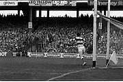 All Ireland Hurling Final - Cork vs Kilkenny.05.09.1982.09.05.1982.5th September 1982.Photographs taken at Croke Park, Dublin. Ger Cunningham (Cork) moves to block a shot on goal.
