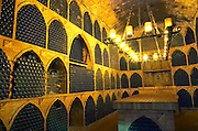 The wine library cellar with old dusty cobweb bottles. Bottles aging in the cellar. Raimat Costers del Segre Catalonia Spain