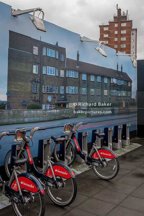 A large photograph of housing by artist, Mitra Tabrizian at Southwark underground station, on 13th January 2017.