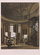 Radcliffe Observatory, Oxford, England, 1814. Telescopes of various sizes, including one by William Herschel. From  'History of Oxford' by Rudolph Ackerman (London, 1814). Aquatint.
