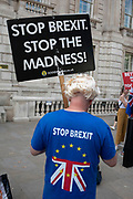 Anti Brexit protester in Westminster wearing a Boris Johnson blonde wig and holding a placard in London, England, United Kingdom.