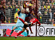 Billy Sharp of Sheffield Utd scores the first goal past Tim Krul of Norwich City during the Premier League match at Bramall Lane, Sheffield. Picture date: 7th March 2020. Picture credit should read: Simon Bellis/Sportimage