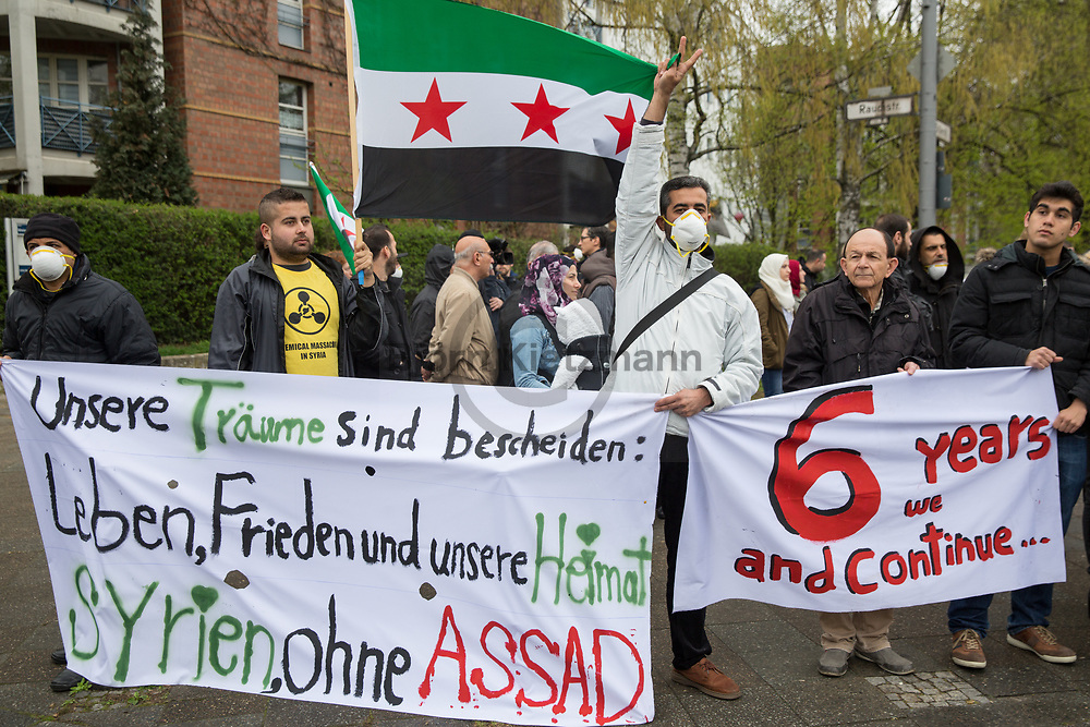 Berlin, Germany - 07.04.2017<br /> <br /> Protest, in front of the Syrian Embassy in Berlin, against the use of poison gas.<br /> <br /> Protest, vor der syrischen Botschaft in Berlin, gegen den Einsatz von Giftgas.<br /> <br /> Photo: Bjoern Kietzmann
