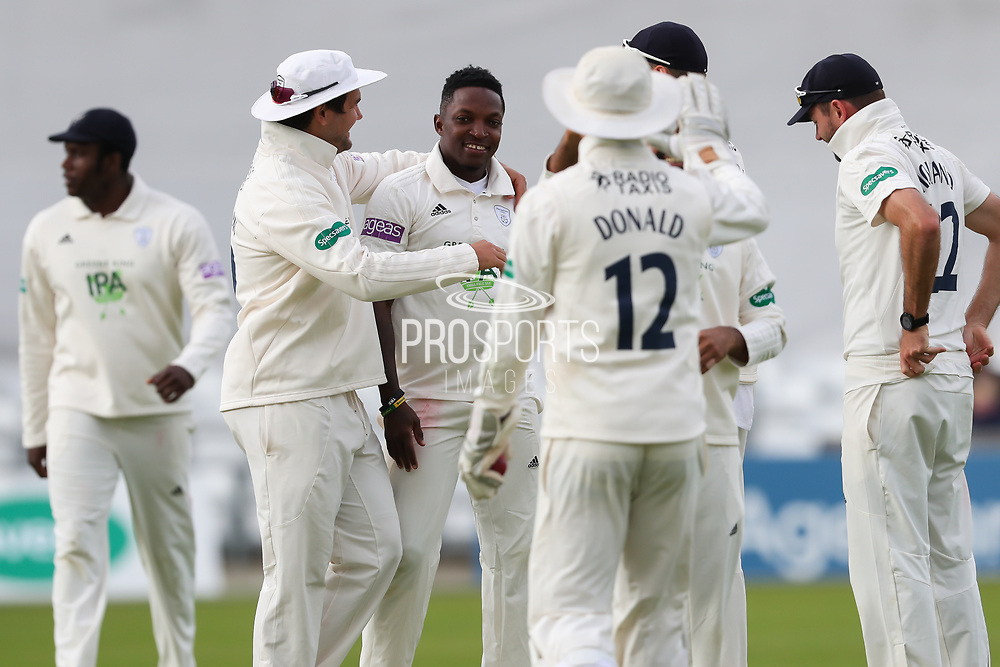 Wicket! Fidel Edwards of Hampshire celebrates after having Jonathan Tattersall of Yorkshire caught behind during the opening day of the Specsavers County Champ Div 1 match between Yorkshire County Cricket Club and Hampshire County Cricket Club at Headingley Stadium, Headingley, United Kingdom on 27 May 2019.