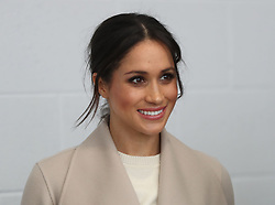 Meghan Markle during a visit to the Eikon Exhibition Centre in Lisburn, where, along with Prince Harry, she attended an event to mark the second year of youth-led peace-building initiative Amazing the Space.