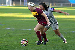 04 November 2016: Shelby Koch & Jess O'Shaughnessy  during an NCAA Missouri Valley Conference (MVC) Championship series women's semi-final soccer game between the Loyola Ramblers and the Evansville Purple Aces on Adelaide Street Field in Normal IL