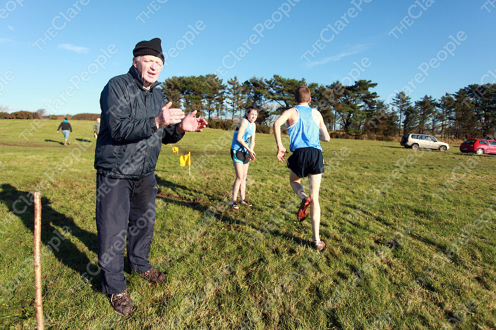 Michael Shannahan cheering on the runners at the schools cross country finals in Mullagh on Friday.<br /> Photograph by Yvonne Vaughan