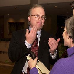 Des Moines, Iowa 24JAN 2000: Bush media strategist Karl Rove spins the press at the Marriott Hotel 1-24-00.  Photo  © Bob Daemmrich
