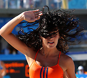20040816 Olympic Games Athens Greece [Beach Volley Ball] between points, cheer leaders.Faliro Coastal Zone - Olympic Complex.Photo  Peter Spurrier ..images@intersport-images.com.Tel +44 7973 819 551.