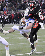 Spencer Delande of Hilliard intercepts a pass near the end zone intended for Glenville's Nicholas Davis late in the fourth quarter.  (Photo by David Richard/Ohiosportshooters.com)
