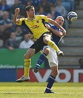 Photo: Steve Bond/Richard Lane Photography. Leicester City v Watford. Coca Cola Championship. 17/04/2010. Danny Graham (L) and Wayne Brown scrap for the ball