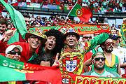 Portuguese upporters before the beginning of the match. Portugal won the Euro Cup beating in the final home team France at Saint Denis stadium in Paris, after winning on extra-time by 1-0.
