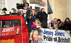 Jessica Jones arrives on an open top tour bus - Photo mandatory by-line: Dougie Allward/JMP - Tel: Mobile: 07966 386802 03/03/2014 -