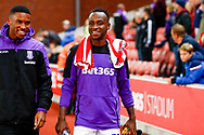 Stoke City forward Saido Berahino (19)  during the EFL Sky Bet Championship match between Stoke City and Swansea City at the Bet365 Stadium, Stoke-on-Trent, England on 18 September 2018.