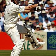 England's Andrew Flintoff pulls to the boundary against Sri Lanka.
