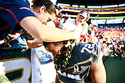 January 31 2016: Team Irvin Michael Bennett is presented with a lei after the Pro Bowl at Aloha Stadium on Oahu, HI. (Photo by Aric Becker/Icon Sportswire)