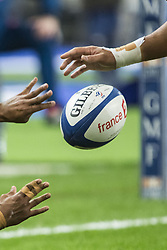 November 19, 2016 - Saint Denis, France - The ball pictured during the rugby union test match between France and Australia at the Stade de France in Saint-Denis, outside Paris, on November 19, 2016. (Credit Image: © Geoffroy Van Der Hasselt/NurPhoto via ZUMA Press)